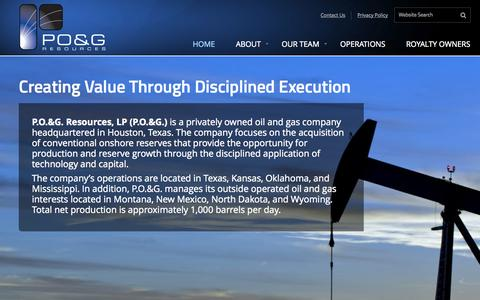 Screenshot of Home Page pogresources.com - P.O. and G. – Creating Value From Opportunity - captured Jan. 23, 2015