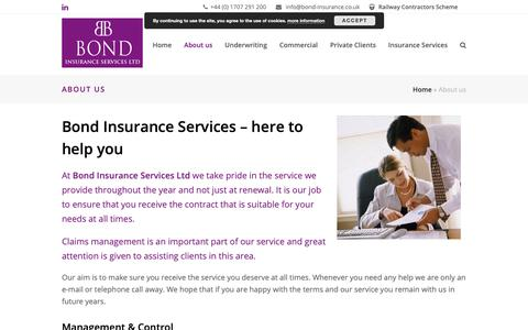 Screenshot of About Page bond-insurance.co.uk - About us | Claims management - captured Oct. 6, 2018