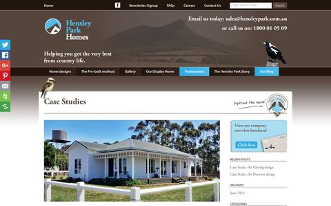 Screenshot of Case Studies Page hensleypark.com.au - Hensley Park Homes-Country homes, pre-built for comfort and country living. - captured Nov. 7, 2016