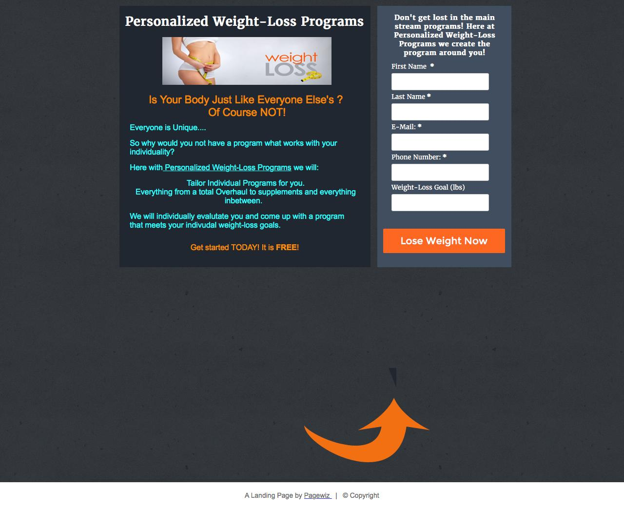 weight loss landing page