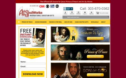 Screenshot of Home Page Site Map Page art-soulworks.com - Art & Soul Works Christian Gifts - Prince of Peace & Art by Akiane Kramarick - captured Sept. 30, 2014