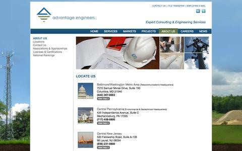 Screenshot of Locations Page advantageengineers.com - Advantage Engineers - captured Sept. 30, 2014