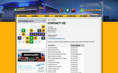Screenshot of Contact Page tdgarden.com - Contact Us   TD Garden - captured Oct. 26, 2014