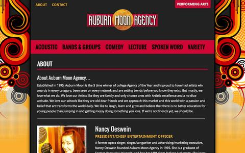 Screenshot of About Page auburnmoonagency.com - About | Auburn Moon Agency - captured Sept. 30, 2014