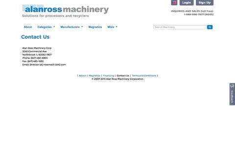 Screenshot of Contact Page alanross.biz - Contact Us | Alan Ross Machinery - captured Nov. 2, 2014