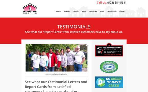 Screenshot of Testimonials Page interstateroofing.com - Customer Testimonials | Interstate Roofing | Portland Vancouver - captured Oct. 12, 2018