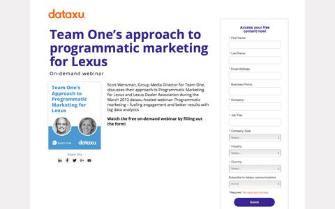 Screenshot of Landing Page dataxu.com - Webinar replay: Team One programmatic marketing Lexus - captured March 1, 2018