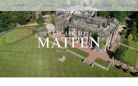 Screenshot of Home Page matfenhall.com - Matfen Hall Hotel in Northumberland | Wedding, Golf & Spa. - captured Dec. 10, 2018