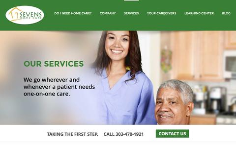 Screenshot of Services Page sevenshomecare.com - Sevens Home Care Services - Denver Home Care Assistance | Home Health Care Options Colorado - captured Aug. 12, 2016