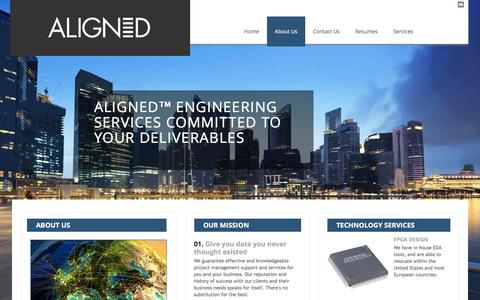 Screenshot of About Page aligned.com - Aligned - Engineering Services - captured Feb. 7, 2016