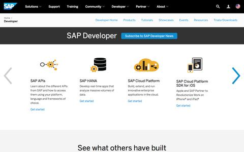 Screenshot of Developers Page sap.com - Resources for SAP Developers | SAP - captured March 2, 2017