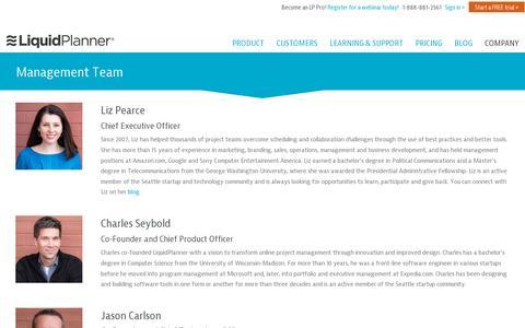 Screenshot of Team Page liquidplanner.com - Get To Know LiquidPlanner's Management Team - captured July 20, 2014