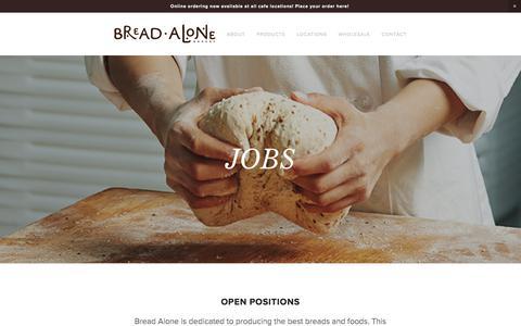 Screenshot of Jobs Page breadalone.com - Jobs — Bread Alone - captured Oct. 11, 2017