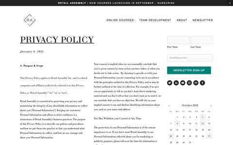 Screenshot of Privacy Page retail-assembly.org - Privacy Policy — THE RETAIL TRAINING AGENCY - captured Oct. 20, 2018