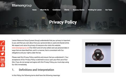 Screenshot of Privacy Page larsongroup.co.uk - Larson Group | IT, Finance, Sales and Social Care Recruitment Agency Leeds | Privacy Policy - captured July 16, 2018