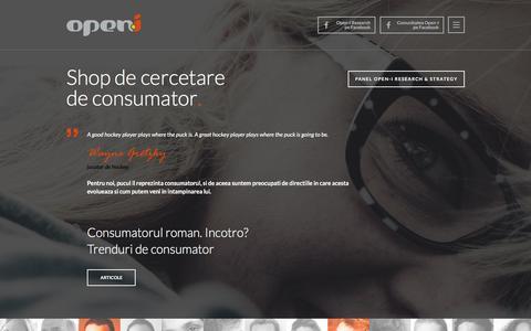 Screenshot of Home Page open-i.ro - Open-I .. Shop de cercetare de consumator - captured Feb. 26, 2016