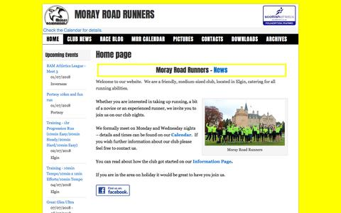 Screenshot of Home Page morayroadrunners.com - Moray Road Runners - captured June 28, 2018