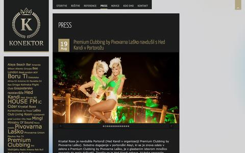 Screenshot of Press Page konektor.si - PRESS | KONEKTOR - captured Oct. 6, 2014