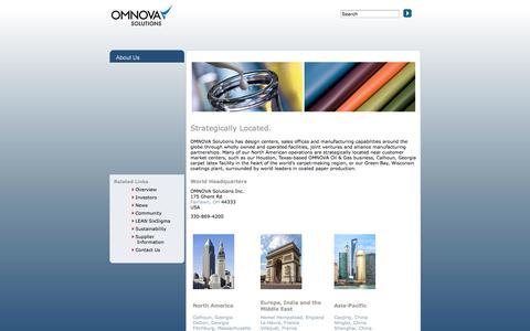 Screenshot of Locations Page omnova.com - OMNOVA Solutions Locations - captured Sept. 23, 2014