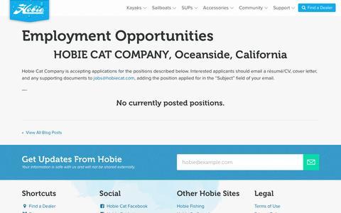 Screenshot of Jobs Page hobiecat.com - Employment Opportunities   : Hobie Cat - captured Sept. 14, 2016