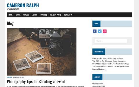Screenshot of Blog cameronralph.com.au - Blog - Cameron Ralph - captured Nov. 9, 2018
