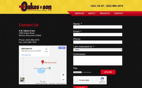 Screenshot of Contact Page awoakes.com - Contact | A.W. Oakes & Son - captured Oct. 2, 2018