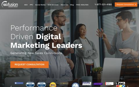 Screenshot of Home Page 180fusion.com - Full Service Digital Marketing: SEO & PPC Services | 180fusion - captured Sept. 14, 2018