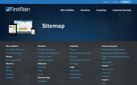 Screenshot of Site Map Page firstrain.com - Sitemap - FirstRain - captured Sept. 16, 2014