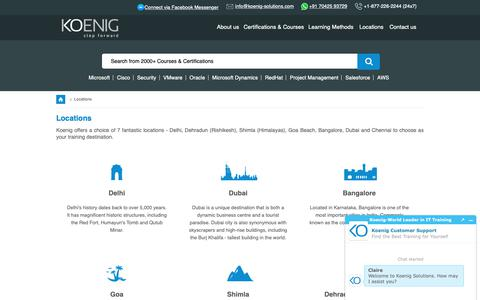 Screenshot of Locations Page koenig-solutions.com - IT Boot Camp Locations in Delhi, Goa, Bangalore, Chennai & Dubai - Koenig Solutions - captured April 1, 2019