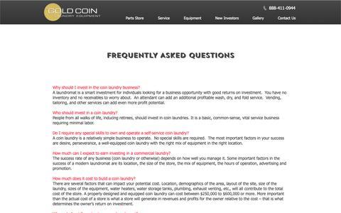 Screenshot of FAQ Page goldcoinlaundry.com - Starting A New Laundry FAQs - captured Sept. 29, 2018