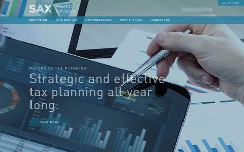 Screenshot of Home Page saxwa.com - Sax Wealth Advisors, LLC - captured July 7, 2018
