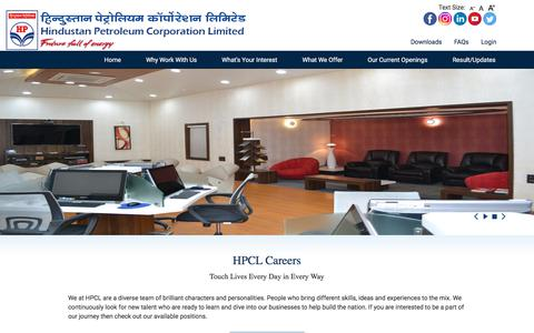 Screenshot of Jobs Page hindustanpetroleum.com - HPCL Careers | Hpcl Careers, India - captured Jan. 17, 2018