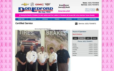 Screenshot of Services Page donledford.com - Cleveland, Buick, Cadillac, Chevrolet, GMC, Service, maintenance, oil changes, tune ups, Don Ledford Automotive in Cleveland - captured Oct. 5, 2014