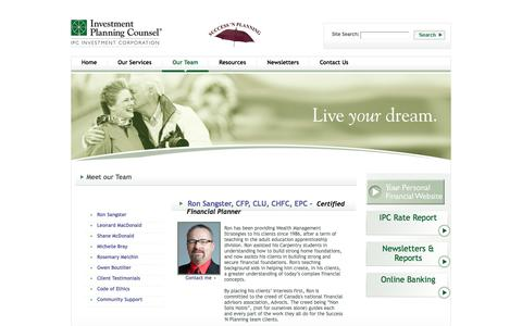 Screenshot of Team Page successnplanning.com - Success 'N Planning - Our Team - captured Oct. 8, 2014