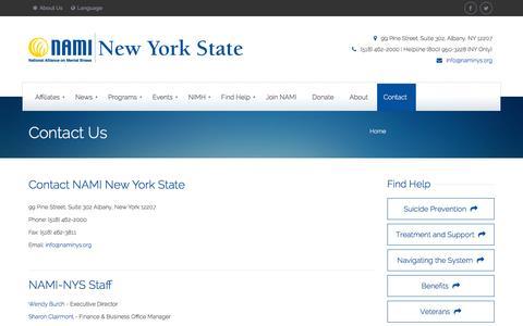 Screenshot of Contact Page naminys.org - Contact Us - NAMI New York State - captured Jan. 11, 2016