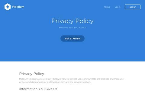 Screenshot of Privacy Page meldium.com - Meldium | Team Password Manager, Cloud Identity & Access Management - captured Sept. 11, 2014