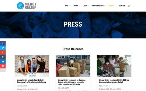 Screenshot of Press Page mercyrelief.org - Press - Mercy Relief - captured Aug. 10, 2016