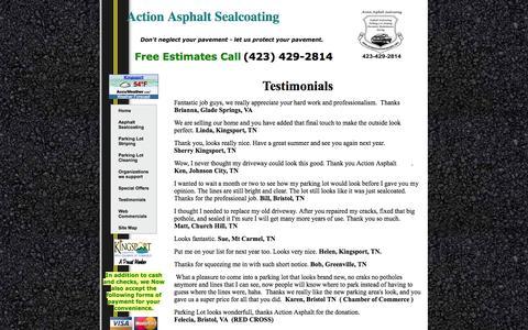 Screenshot of Testimonials Page protectyourpavement.com - Action Asphalt Sealcoating 119 Cooks Valley Rd Kingsport TN 37664 (423) 429-2814-Home-Testimonials - captured Oct. 4, 2014