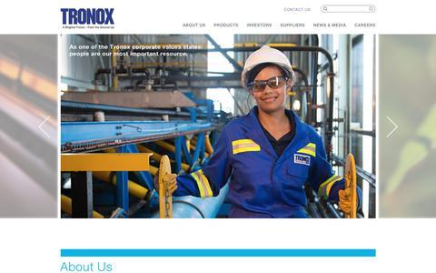 Screenshot of Home Page tronox.com - Tronox – Producer and Marketer of Titanium Dioxide Pigment - captured June 18, 2018