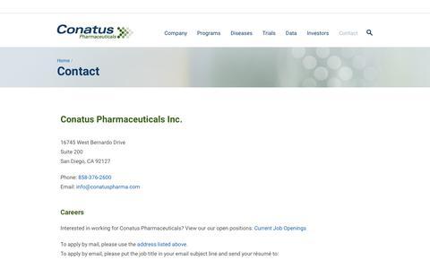 Screenshot of Contact Page conatuspharma.com - Contact | Conatus Pharmaceuticals - captured Nov. 1, 2017