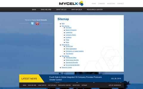 Screenshot of Site Map Page mycelx.com - | MyCelx Oil-Free Water Technology - captured Nov. 5, 2014