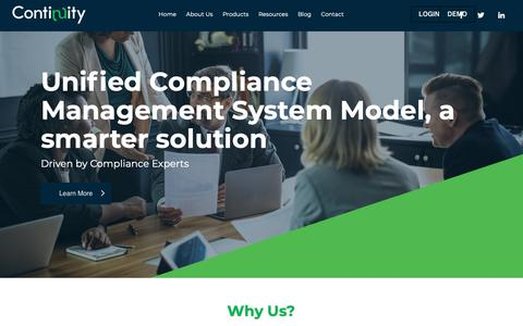Screenshot of Home Page continuity.net - Continuity   Automating Compliance Management - captured Nov. 2, 2018