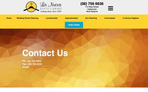 Screenshot of Contact Page lanuova.co.nz - Contact Us | La Nuova - captured Feb. 20, 2018