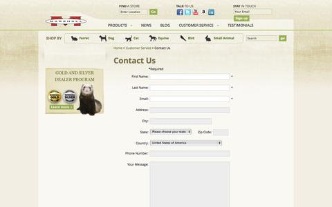 Screenshot of Contact Page marshallpet.com - Contact Us - Marshall Pet Products - captured Oct. 27, 2014