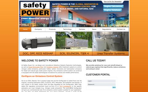 Screenshot of Products Page safetypower.ca - Emissions Control System – Safety Power Nitrogen Oxide Emissions Control - captured Oct. 1, 2014
