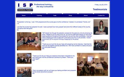 Screenshot of Testimonials Page ispconsultancy.com - Testimonials regarding ISP Consultancy training. - captured July 22, 2016