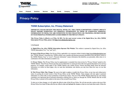 Screenshot of Privacy Page thinksubscription.com - THINK Subscription Privacy Statement - captured Oct. 9, 2014