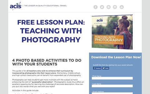 Screenshot of Landing Page acis.com - Teaching with Photography Lesson Plan - captured March 13, 2017