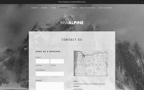 Screenshot of Contact Page nwalpine.com - Contact — NW ALPINE - MADE LOCALLY. LOVED GLOBALLY. - captured Dec. 6, 2016
