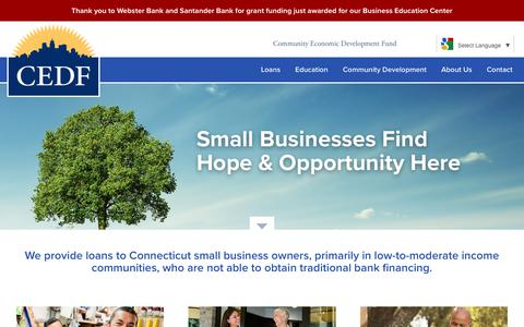 Screenshot of Home Page cedf.com - Community Economic Development Fund (CEDF) CT | Small Business Loans - captured Aug. 18, 2017